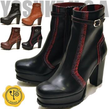 YOSUKE ヨースケ 靴 サイドジップの厚底ブーツ シ...