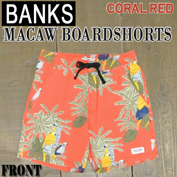 BANKS/バンクス MACAW BOARDSHORTS CORAL RED 男...