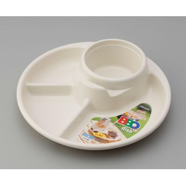バーベキュー皿 仕切り付 アイボリー