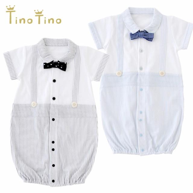 *ティノティノ*蝶ネクタイ付き半袖新生児ツーウェ...