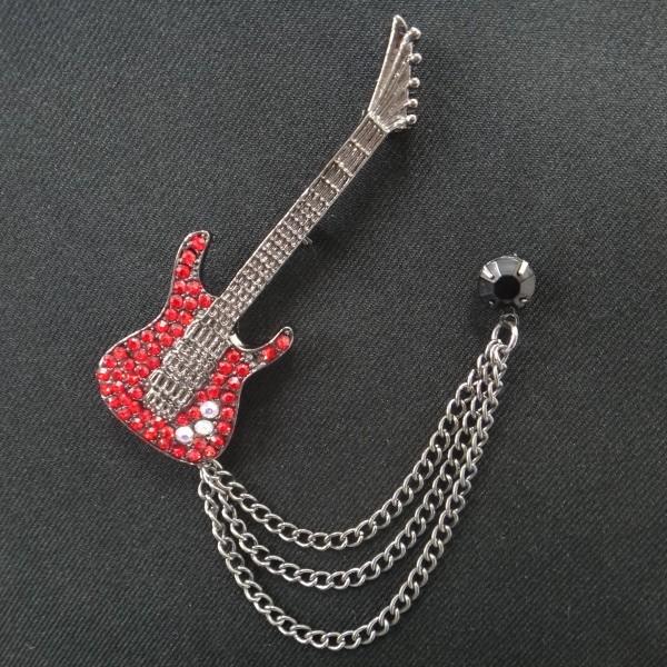 ラペルピン・真っ赤なギター×黒ストーンのラペル...