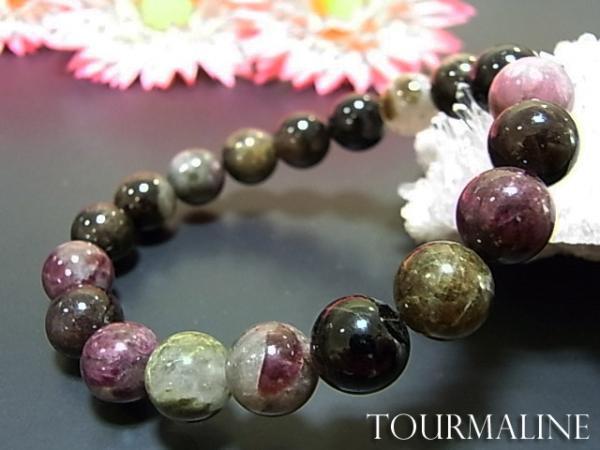数珠 ブレスレット トルマリンブレス10MM 天然石 ...