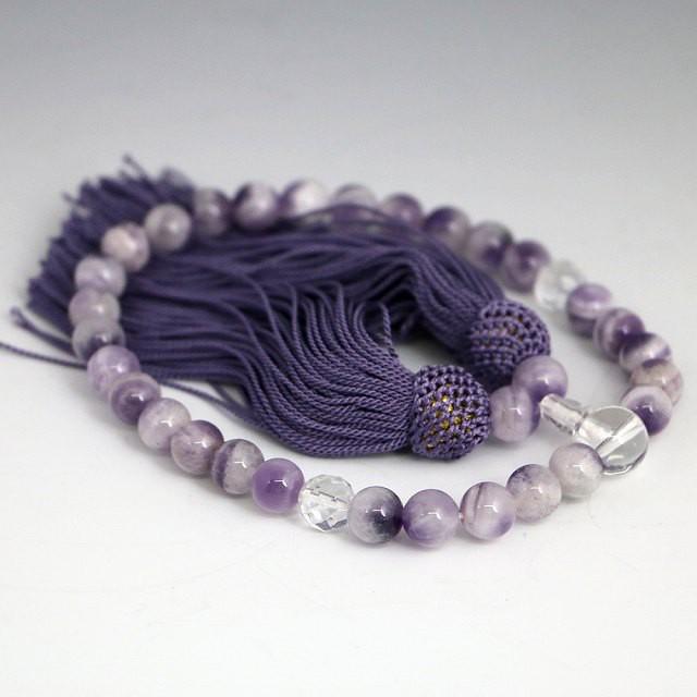 数珠 女性用 シェブロンアメジストの数珠 紫水晶(...