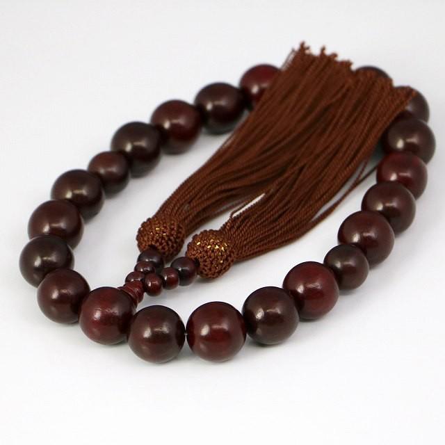 数珠 男性用 天然木の数珠 茶(ojyuzu-8)