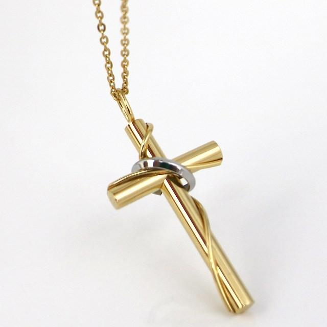 ステンレス ネックレス クロス 十字架 リング ゴ...
