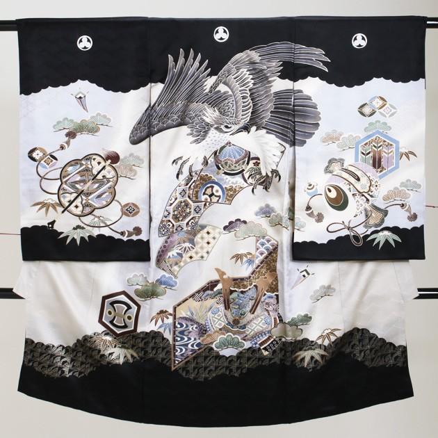 【お宮参り 男の子】黒/鷹・かぶと a-51【日本製...