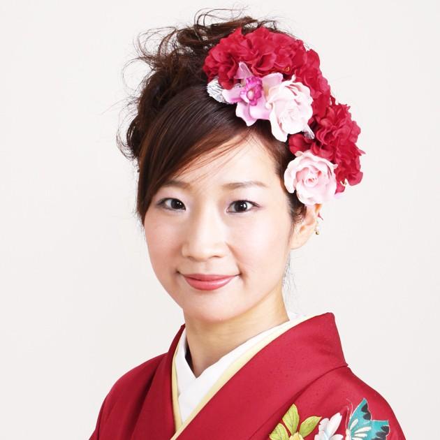【髪飾り】【販売品】お花 ピンク 赤 ダリア パー...