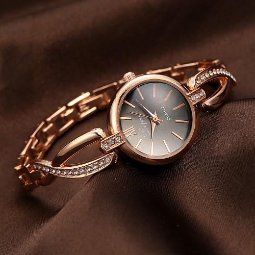 ブレスレット風 レディース腕時計 《ゴールドブラ...