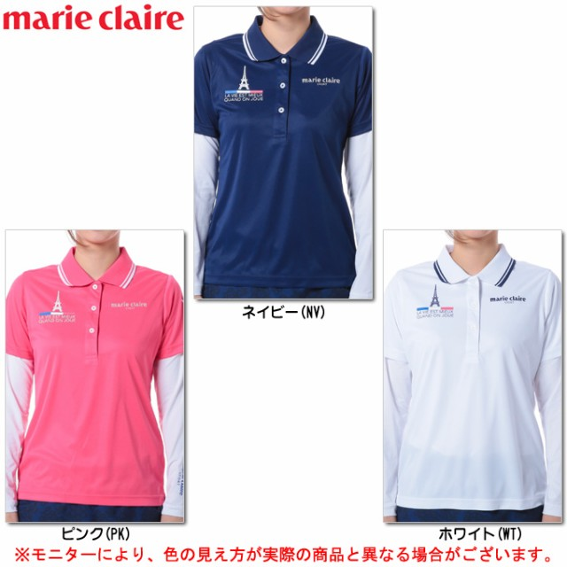 marie claire(マリクレール)半袖ポロシャツ 長...