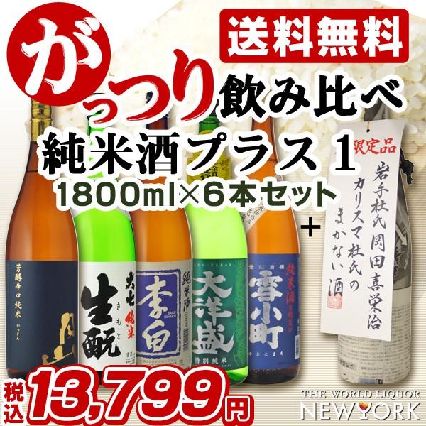 飲み比べ 送料無料 純米酒プラス1 がっつり日本酒飲み比べ6本セット 1800ml×6本 (北海道沖縄+790円)