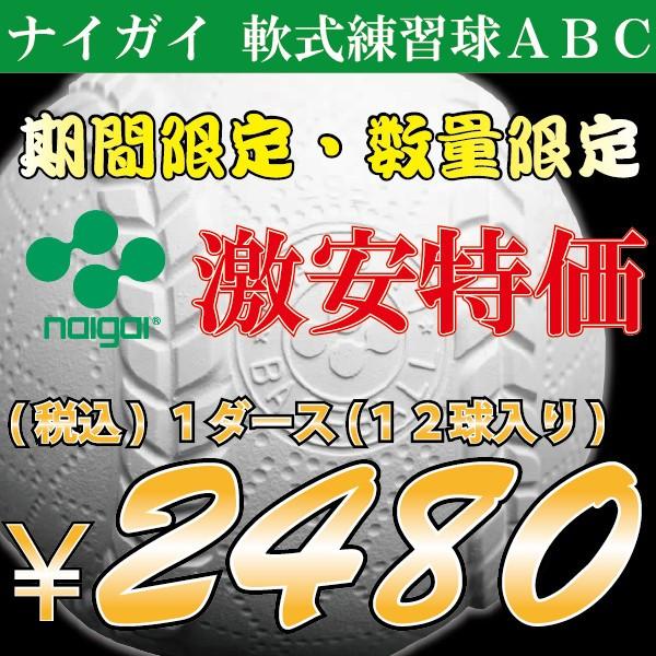 軟式ボール/ ナイガイ A・B・C号練習球  【練...