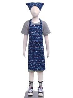 子どもエプロン(130〜160cm) 総柄タイプ  ブル...