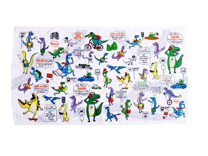 プールタオル 平面 恐竜タウンは大忙し N4954200 ...