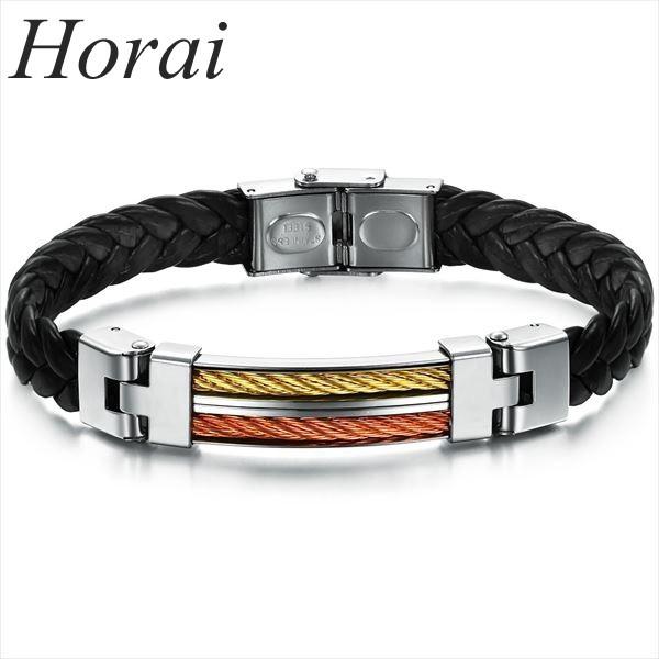 【Horai】 ブレスレット メンズ レザー カラー ...