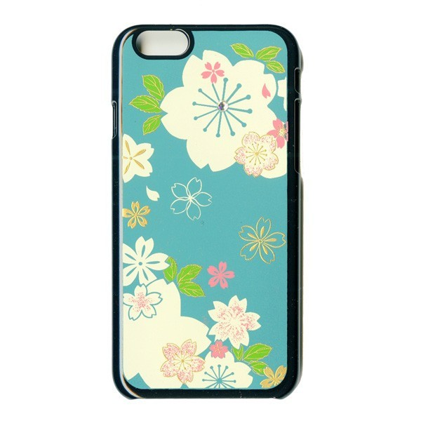 iPhone6ケース蒔絵/スワロフスキー桜(黒)漆器...