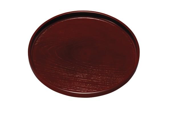 丸盆 紅溜 ケヤキ杢(ノンスリップ)24cmの丸盆で...