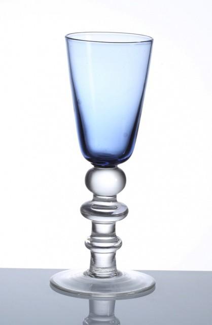 【手作りガラス】 日本酒コップ クリアブルー【食...