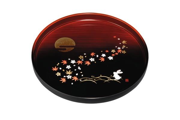 丸盆 杢漆分け 春秋月うさぎ24cmの丸盆です内祝 ...