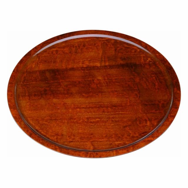 【紀州塗り】木製くりぬき丸盆 27cm 薄型 茶塗 23...