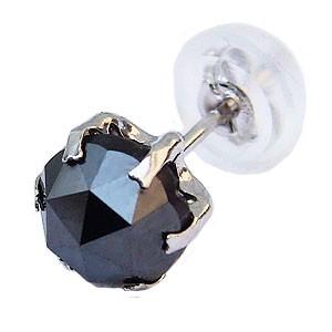 ピアス 片耳用 ブラックダイヤモンド 1.00ct PT90...