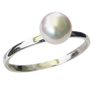 真珠 パール 指輪 あこや本真珠 6mm ホワイトゴー...
