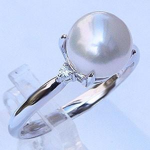 パール 真珠 指輪 あこや 8mm K18WG ホワイトゴー...