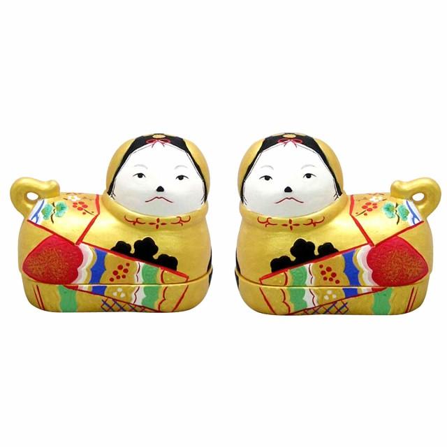 雛人形(ひな人形)雛道具『錦彩犬筥 金(小)一対』...