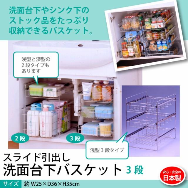 ステンレス製 日本製 シンク下スライドラック 3段...