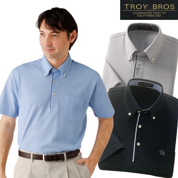 TROY BROS トロイブロス 格子柄半袖BDポロシャツ3...