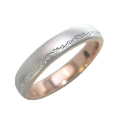 K18ピンクゴールド・プラチナ900 結婚指輪・マリ...