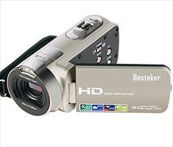 ビデオカメラ Besteker ポータブルビデオカメラ 2...