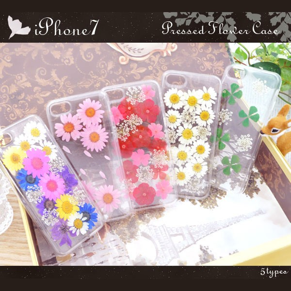 iPhone8 iPhone7 ケース 押し花ソフトケース カバ...