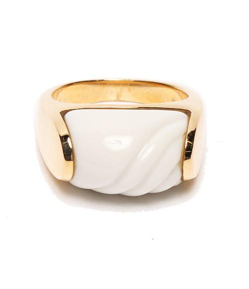 美品 ブルガリ K18YG トロンケット 陶器 ホワイト...