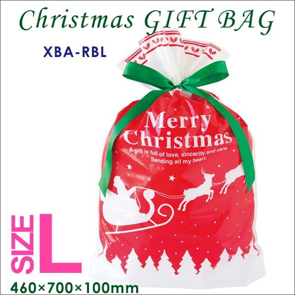 ベーシッククリスマスリボン付PEギフトバッグ (L...