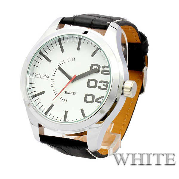 eb4aa3bc4f 人気のビッグフェイスカジュアルウォッチビッグフェイス メンズ腕時計 クオーツ ホワイト ブラック日本製ムーブメント