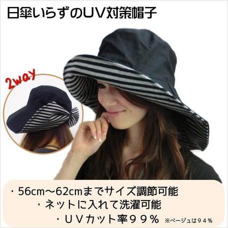 首までしっかりUVガードのつば広帽子【送料無料】...