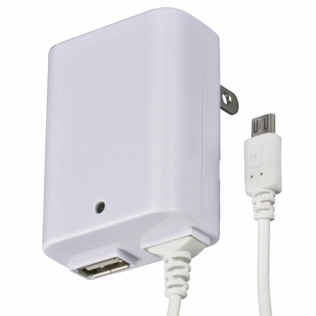 OHM ACアダプター USB+microUSB 1m 2.1Aまで MAV...