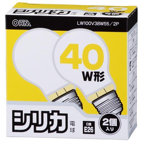 オーム電機 シリカ電球 LW100V38W55/2P 06-1761