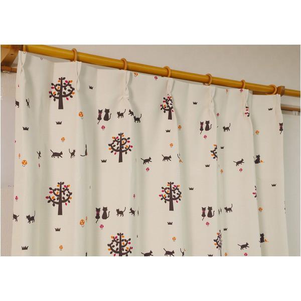 猫柄 遮光カーテン / 2枚組 100×178cm / オレン...