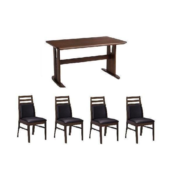 【5点セット】ダイニングテーブル1台&肘なしチェ...