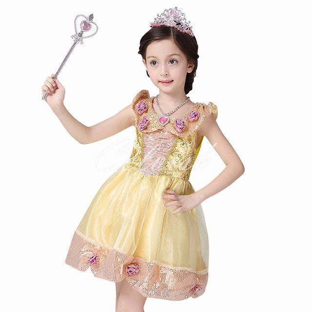 788445a771993 送料無料 ベル風 プリンセスドレス 子供 ドレス 衣装 コスプレ 美女と野獣 ディズニー C-