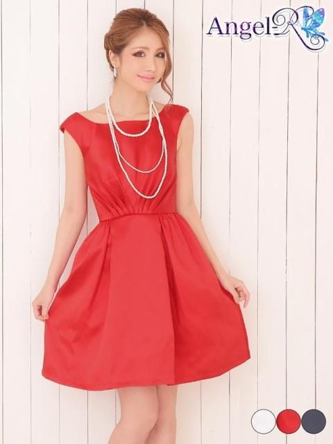 キャバ ドレス キャバドレス ワンピース AngelR 背中見せギャザーサテンノースリAライン ミニドレス 赤 紺 白 シンプル 無地 モノトーン