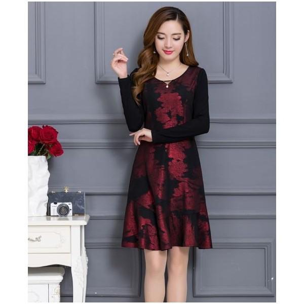 ワンピース ドレス ショート丈 長袖 大きいサイズ...