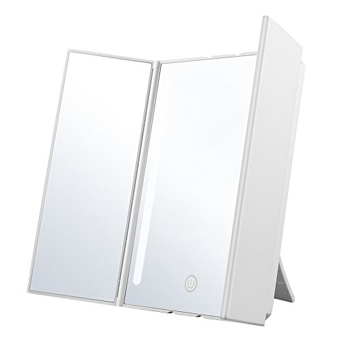 Jerrybox 卓上スタンドミラー 鏡 三面鏡 LEDメイ...