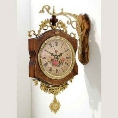 《素敵なインテリア》振り子両面時計ブラウン