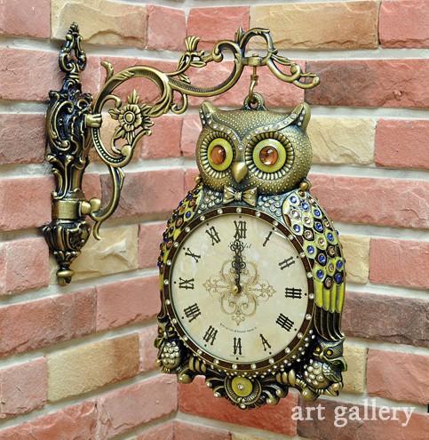 《素敵なインテリア》フクロウ 鋳物 両面時計(ゴ...