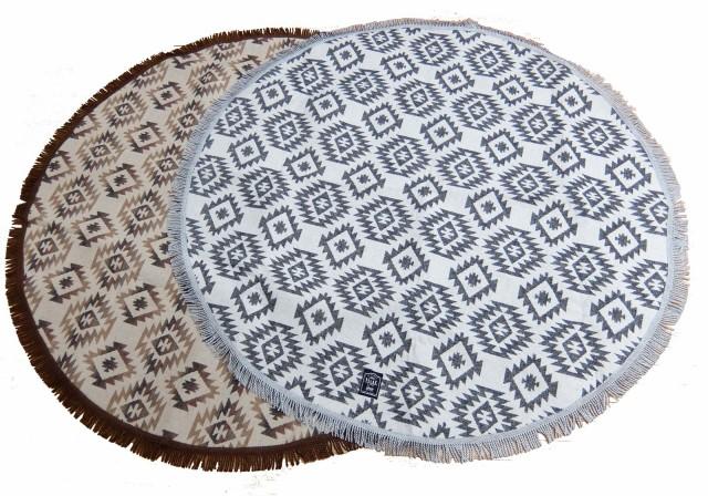 ジャガード織 円形ラグ ジェルバ