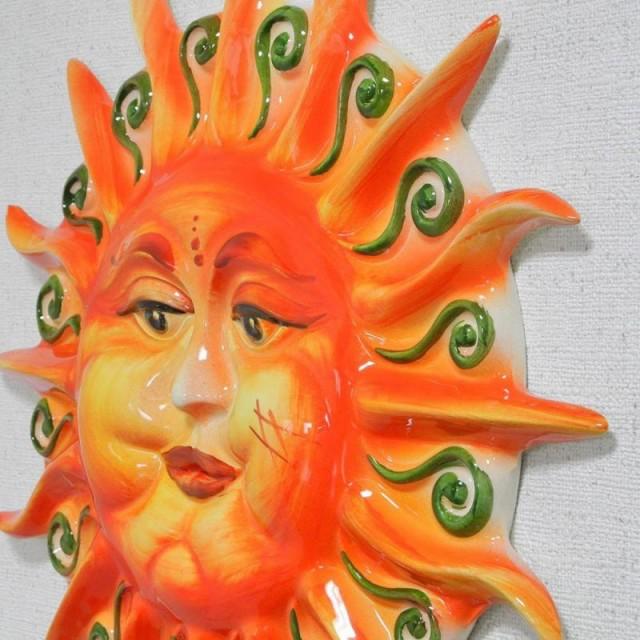 イタリア製 太陽 壁掛け 陶器製 オーソレミオ 手...
