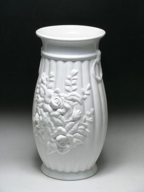 ポルトガル製おしゃれ 陶器 薔薇 傘立てホワイト ...