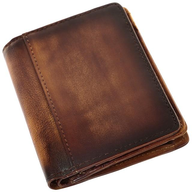二つ折り 財布 5年熟成レザー 全2色 青 メンズ ...